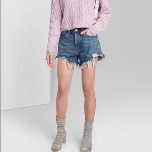 Wild Fable High Rise Frayed Distressed Jean Shorts